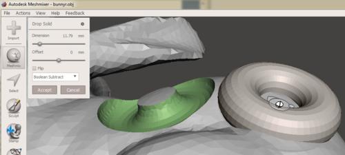 Autodesk Meshmixer Subtract